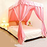 Is There a Bed Bigger Than a King KQCNIFVNKLM Air conditioning bed curtain home wind dust shading solid color mosquito net cover privacy mosquito net canopy for bed-pink Full-size