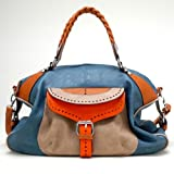 Tosca Buckle Eyelet Style Satchel Handbag (Blue), Bags Central