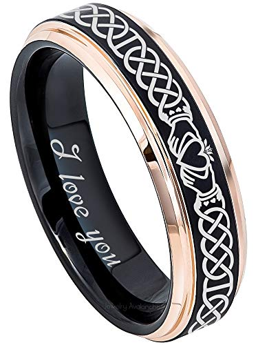 Jewelry Avalanche Celtic Claddagh Tungsten Ring w/I Love You Inside Engraving - 2-Tone Matte Finish Black IP & Rose Gold Plated Comfort Fit Tungsten Carbide Wedding Band