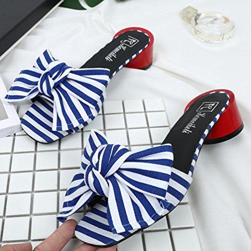 Mode Tongs Été Rayure Femmes Élégant Talons à Claquettes Chaussures Sandales Nœud Toe Bleu Peep Mules tqXXpZwO