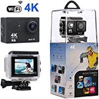 Action Camera, R.B WiFi Sport Camera Ultra 4K HD Waterproof with 170 Wide-Angle Lens and Rechargeable Battery, Including Full Accessories Kits and Waterproof Case