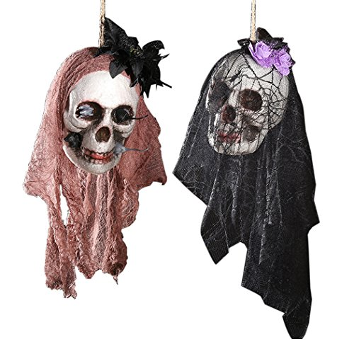 Price comparison product image Halloween Hanging Decoration,Outgeek 2 Pack Creepy Skull Head with Spider Web