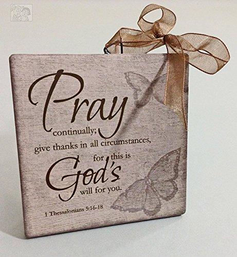 ArtFuzz Pray Mini Ceramic Inspirational Plaque Set of4 4X4X0.25