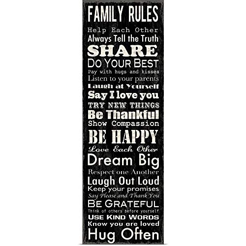 """Great Big Canvas Poster Print Entitled Family Rules Narrow Black by Louise Carey 12""""x36"""" from Great Big Canvas"""