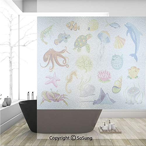 3D Decorative Privacy Window Films,Sea Animals Octopus Dolphin Shells Stingray Crab Turtle Jellyfish Wildlife Graphic,No-Glue Self Static Cling Glass film for Home Bedroom Bathroom Kitchen Office 36x3