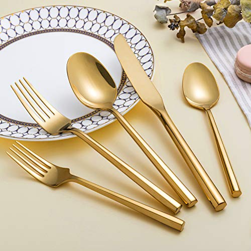 (Kelenfer Flatware Cutlery Set Shiny Gold with Hexagon Handle Forged Stainless Steel For Home Hotel Use Service for 4)