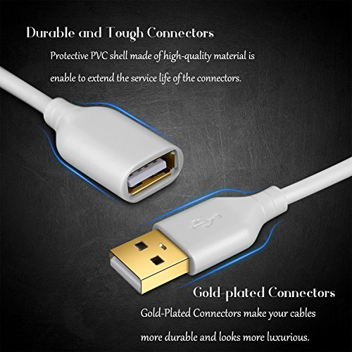 Costyle 2-Pack USB 2.0 10ft/3m USB Type A Male to A Female Extension Cord USB Cable Extender with Gold-Plated Connectors (White)