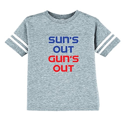 Cute Rascals Suns Out Guns Out Toddler Football Jersey T-Shirt Tee Oxford Gray 3T Pro Style Football Jersey