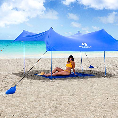 Red Suricata Family Beach Sunshade – Sun Shade Canopy | UPF50 UV Protection | Tent with 4 Aluminum Poles, 4 Pole Anchors…
