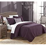 Chic Home 4 Piece Barcelo Traditional Embroidery Quilt Set with Embroidered Decorative Pillow, Queen, Plum