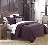 Chic Home 4 Piece Barcelo Traditional Embroidery Quilt Set with Embroidered Decorative Pillow, King, Plum