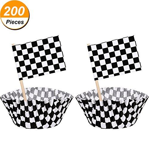 TecUnite 100 Pieces Checkered Flag Race Flag Cupcake Topper Picks and 100 Pieces Race Flag Cupcake Wrapper Paper Baking Cup Covers for Cake Decorations, Black and (Racing Cake Decorations)