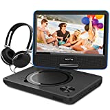 9.5 Inch Portable DVD Player for Kids with Swivel Screen, USB / SD Slot Built in 4 Hours Rechargeable Battery (Blue)