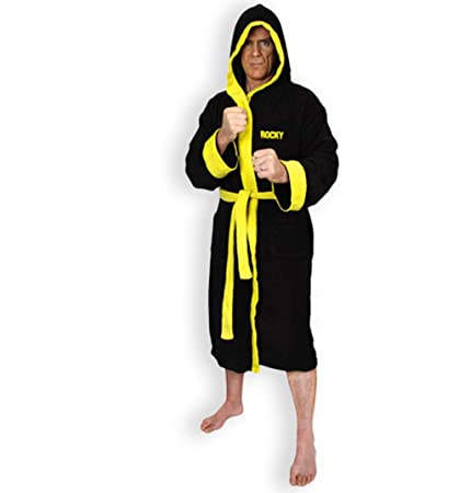 46c0e9ae6c Image Unavailable. Image not available for. Color  Mens Black Fleece Rocky  Emblem Dressing Gown