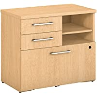 Bush Business Furniture 300 Series 30W Piler Filer Cabinet in Natural Maple