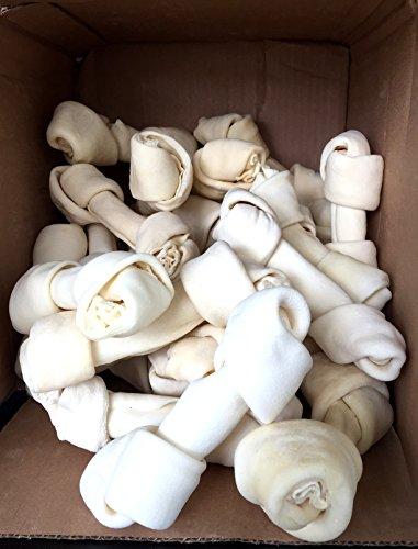 123 Treats | Large Rawhide Chew Bones for medium to big dogs 6-7 (30 Count) 100% Natural Premium Bulk Bones