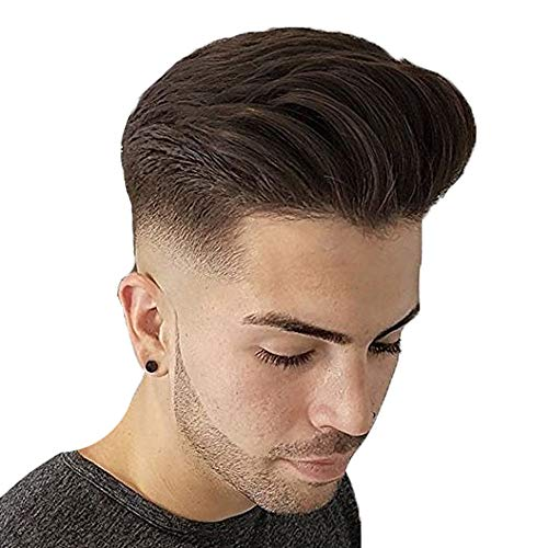 - Pancy Human Hair Men's Toupee Durable Fine Mono With Poly Thin Skin Front Toupee Hair Replacement Hair System Human Hair Pieces for Men Father Gift (#2 Dark Brown)