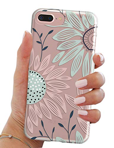 iPhone 7 Plus Case,iPhone 8 Plus Case,Elegant Floral Flower Bloom Clear Anti Scratch Drop Resistant Bumper Case Cover for Apple iPhone 7/8 Plus (5.5
