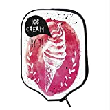 YOLIYANA Ice Cream Decor Durable Racket Cover,Yummy Figure with Try It Quote Paintbrush Watercolor Art Illustration Decorative for Sandbeach,One Size