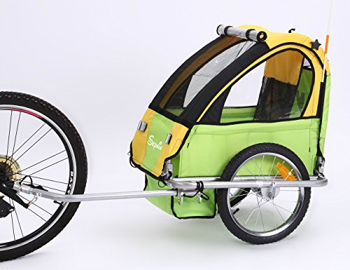 Sepnine Single seat Baby Bicycle Trailer of Steel Frame BT-505 (Yellow/Green)