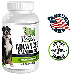 Advanced Dog Calming Aid and Anxiety Relief :: Chewable Tablets :: With Chamomile, Passion Flower, Melatonin :: All Natural :: Relieves Stress, Travel Sickness & Promotes Relaxation By Pup and Paws
