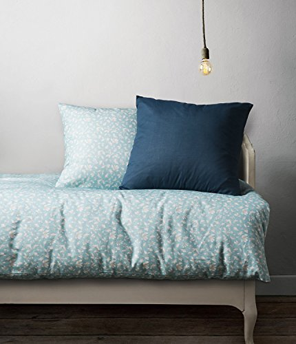 E.NUO Home 100% US Combed Cotton Flannel 350-Thread-Count 4 Pcs Duvet Cover Set Queen Size, Phalaenopsis, Light Blue