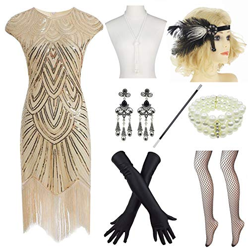 (Women 1920s Vintage Flapper Fringe Beaded Gatsby Party Dress with 20s Accessories Set)