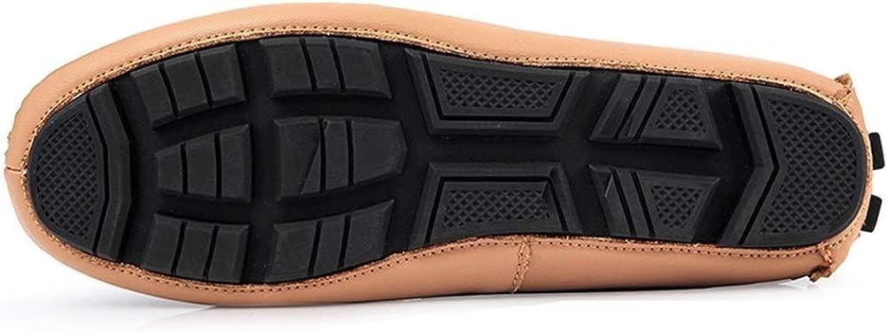YLH Mocassins de conduite for hommes plat Slip-on confortable Léger antidérapants Lug Sole Low Top Vegan Chaussures bateau à bout rond Faux cuir. Kaki