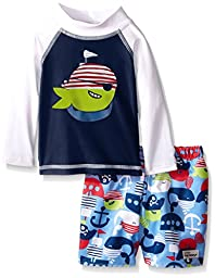 Flap Happy Baby UPF 50+ Graphic Rash Guard And Infant Swim Diaper Trunk Set, Army Green Mate/Pirate Kai, 6 Months