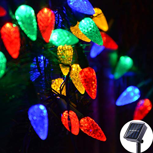 Viewpick Multicolored Christmas Lights C6 Strawberry Ornaments Fairy Lights Solar Outdoor 8 Modes 50 LED String Lights Patio Garden Decor Lights Solar Operated Pathway Lights Yard Gate Christmas Decor (Light Ornaments Solar)