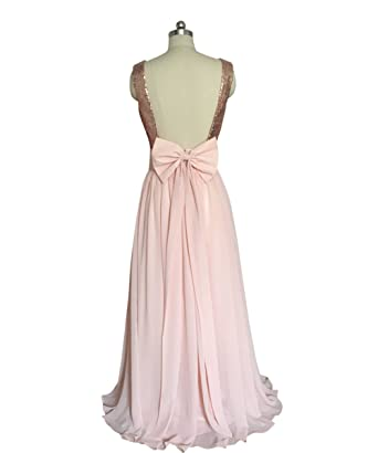 Rose Gold Sequins Backless Pink Chiffon V-neck Long Prom Dress Wedding Party Dress Bridesmaid
