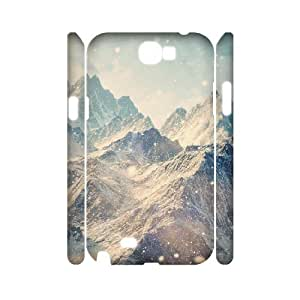 3D Samsung Galaxy Note 2 Case,Himalayan Mountains Landscape Snowfall Hard Shell Back Case for White Samsung Galaxy Note 2