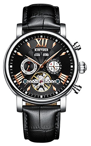Perpetual Calendar Skeleton Men Watch Fashion Tourbillon Automatic Mechanical Business Wristwatches (Silver Black)