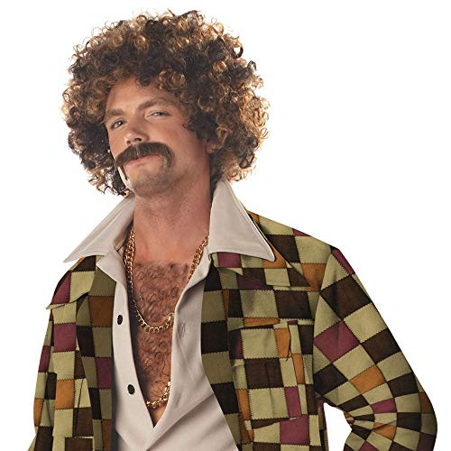 Disco Dirt Bag Wig & Moustache Costume Accessory]()