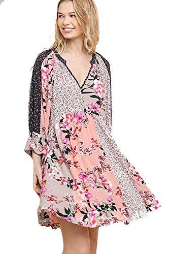 - Doll-Baby Babydoll! Boho Mixed Pattern Dress (Blush, Large)