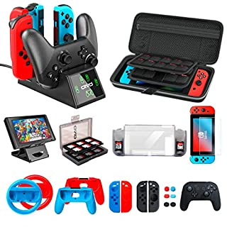 Accessories Kit Bundles for Nintendo Switch Starter, OIVO Accessories Bundle Kit for Nintendo Switch Console (20 in 1)