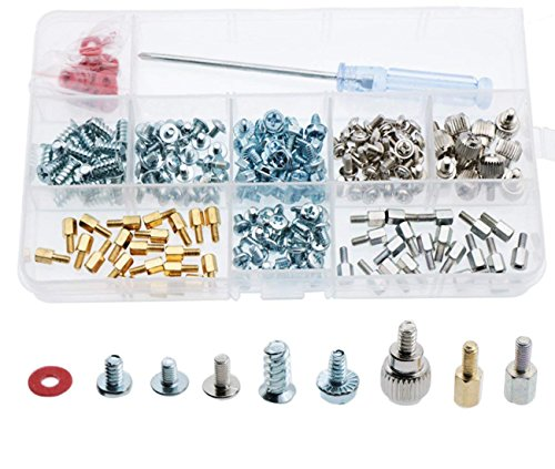 - CO RODE Computer Screws, 220pcs PC Screw Standoffs Spacer Set Assortment Kit for Hard Drive Computer Case Motherboard Fan Power Graphics with Extra Screwdriver