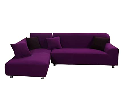 Amazon.com: WOMACO L Shape Sofa Covers Knit Sectional Sofa ...