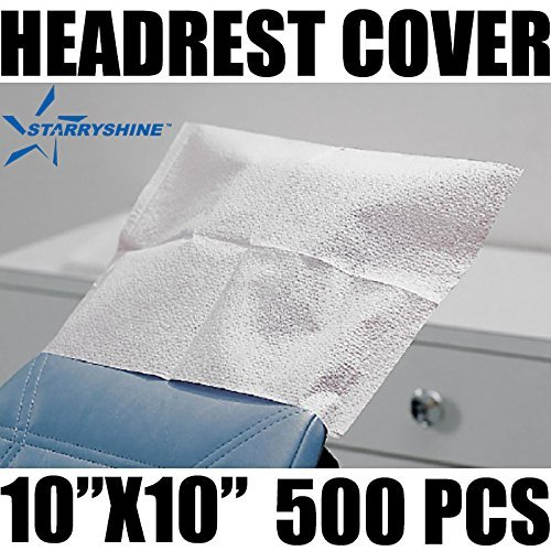 Starryshine 500 PCS Disposable Tattoo Dental Headrest Covers WHITE TISSUE POLY 10''x10'' | Fluid Resistant Poly