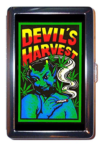 Devil's Harvest Marijuana Reefer Lowbrow Pulp Art Stainless Steel ID or Cigarettes Case (King Size or 100mm)