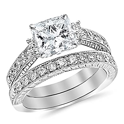 3.03 Ctw 14K White Gold GIA Certified Princess Cut Three Stone Vintage With Milgrain & Filigree Bridal Set with Wedding Band & Diamond Engagement Ring, 2 Ct D-E VS1-VS2 Center