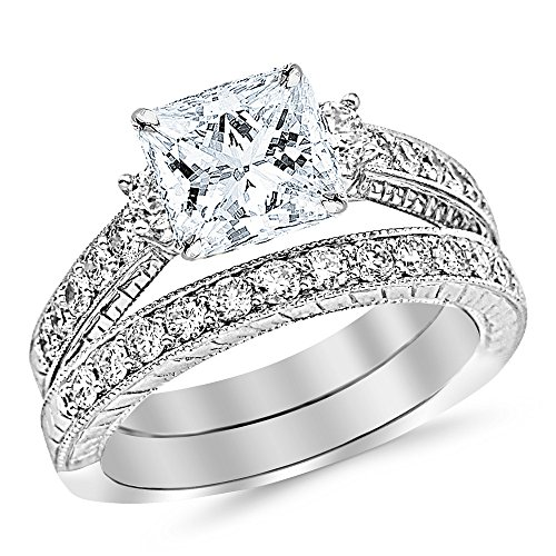 1.53 Ctw 14K White Gold GIA Certified Princess Cut Three Stone Vintage With Milgrain & Filigree Bridal Set with Wedding Band & Diamond Engagement Ring, 0.5 Ct I J VVS1 VVS2 Center