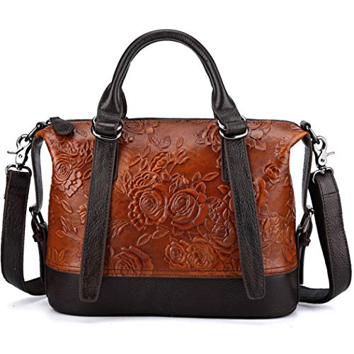 Women Genuine Leather Shoulder Bag Bucket Handbag Embossing Flower Crossbody Satchel Embossed Top Handle Tote