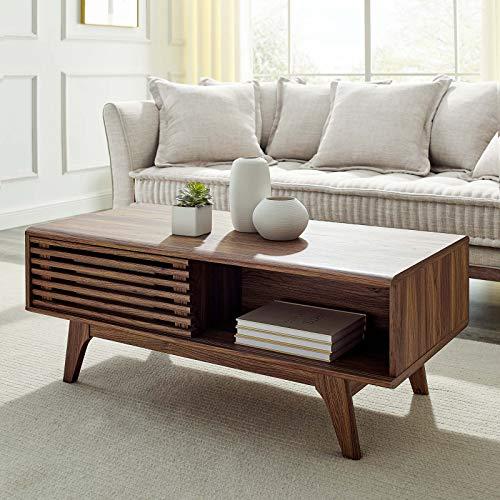 Modway Render Mid-Century Modern Coffee Table in Walnut