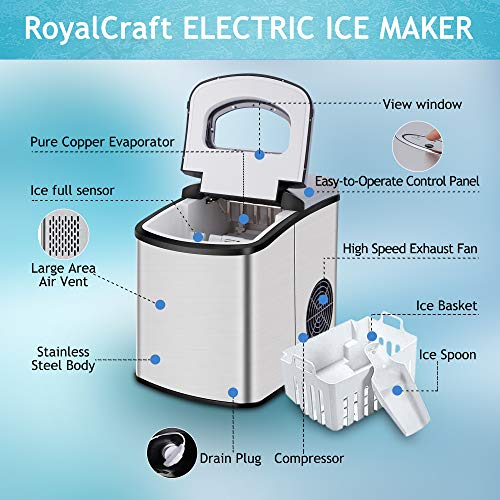 Ice Makers Countertop - Ice Maker Machine,Portable Electric Ice Maker,Counter Top Ice Maker for Home with LED Display,9 Ice Cubes Ready in 8-10 mins,Make 26 Pounds Ice in 24 Hrs