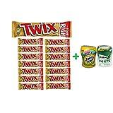 Twix Cookie Bars Caramel Milk Chocolate King Size - 3.02 Oz (15 PACK)+ Fruity Chews Gum Watermelon 1/60 Count + Trident Go Cup Spearmint 1/60 Count (BUNDLE)