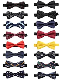fab806f746f0 16 Packs Elegant Adjustable Pre-Tied Bow Ties for Men Boys Mixed Color  Assorted Ties
