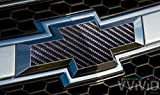 "VVIVID TechArt Black Carbon Fiber Auto Emblem Vinyl Wrap Overlay Cut-Your-Own Decal for Chevy Bowtie Grill, Rear Logo DIY Easy to Install 11.80"" x 4"" Sheets (x2)"
