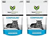 Vetri Science Composure Calming Formula for Cats 2PACK (60 Total Bite-Sized Chews) with Bonus Feline Health Tracker