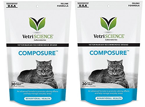 Vetri Science Composure Calming Formula for Cats 2PACK (60 Total Bite-Sized Chews) with Bonus Feline Health Tracker (Vetri Science Composure)